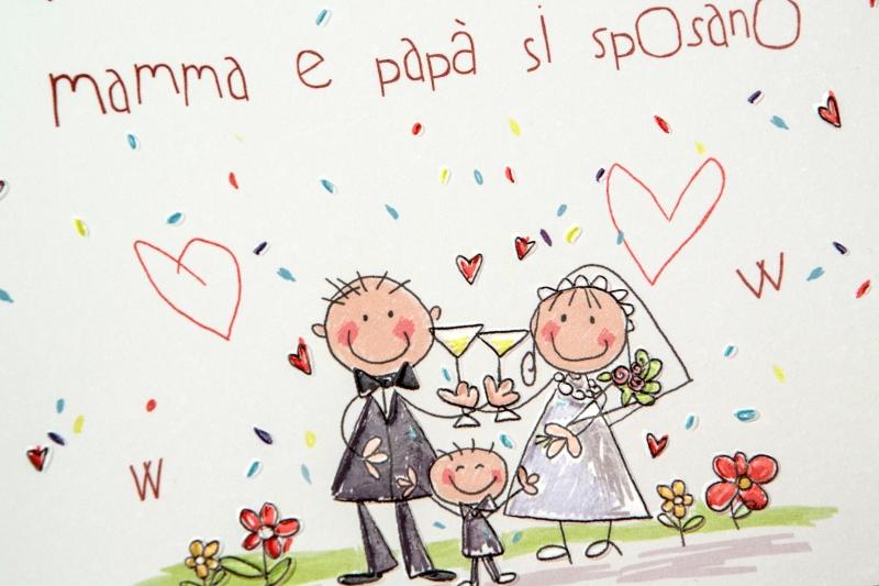 Auguri Matrimonio Con Figli : Partecipazione sheila realizzata in